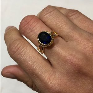 New Gold Plated Vintage Blue Topaz Silver Ring